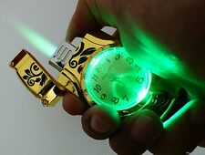 Butane Gas Refill Flame Lighter with Watch Gold