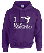 I LOVE GYMNASTICS Hoodie Hoody Fun Novelty Casual Wear Gift Present Gym Acrobat