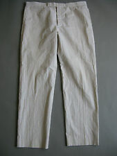 THOM BROWNE BROOKS BROTHERS BB5 TAN WHITE SEERSUCKER STRAIGHT LEG SLIM PANTS