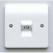 MK 1 Gang TV Aerial FM Co-AX Coaxial White Wall Socket Single