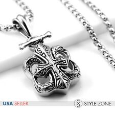 Men Stainless Steel Gothic Crow Heart Cool Cross Pendant Smooth Box Necklace P16