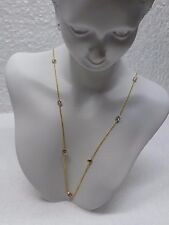 "14K Yellow Gold Cubic Zirconia Gemstone By The Yard Necklace 16"" New"