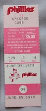 1978 Philadelphia Phillies Vs Chicago Cubs Ticket Stub 6/25/78 Luzinski HR