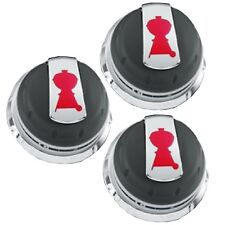 Weber Gas Grill 3pc Control Knob Set BBQ Burner Parts Genesis Series 2011+ 62752