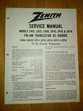 Zenith Service Manual Z419 Z422 Z426 Z470 Z474 Z476 FM-AM Transistor AC Radios