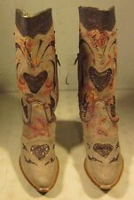 Roberto Cavalli Women's Suede Leather Heart Cowboy Western Boots Size 38 7 1/2