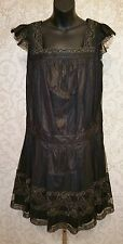 ANNA SUI POLYESTER TULLE & LACE COCKTAIL  PROM FLAPPER STYLE DRESS SZ 10 #2276