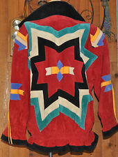 RED SUEDE LEATHER SCULLY South WESTERN COAT/JACKET Multi Colour Design & Tassels