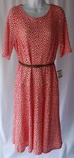 Anne Klein Printed Cocktail Day Dress White Coral Belted Size 16 New with Tags