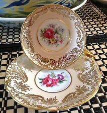 Paragon England Beige gold tea cup & saucer pink rose bouquet  1952-60 C