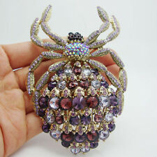 Vintage Purple Rhinestone Crystal Gilded Spider Animal Large Brooch Pin Pendant