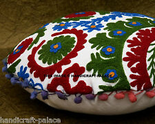 "16"" ROUND EMBROIDERED DECORATIVE THROW PILLOW CUSHION COVER Boho Bohemian Decor"