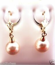 14kt Solid Yellw Gold Dangling 8M Crystal Pearl Swarovski Ball Leverback Earring