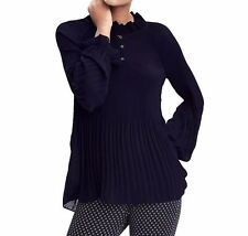 NWT Banana Republic Pleated Button Up Blouse, NAVY SIZE L    #376583