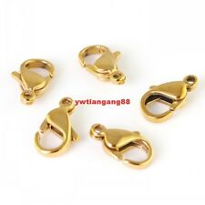30pcs 12mm Gold Stainless steel Fashion lobster clasps & Hooks Jewelry Finding