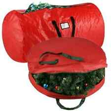 """Elf Stor Deluxe Red Christmas Tree Storage Bag & Canvas 30"""" Inch Wreath Bag"""