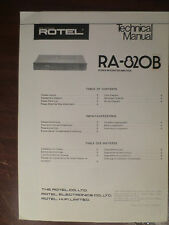 ROTEL RA-820B INTEGRATED AMP TECHNICAL SERVICE MANUAL FACTORY ORIGINAL