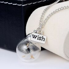 Jewelry Heart Silver Chain Glass Bottle Dandelion Seeds Pendant Necklace Charm