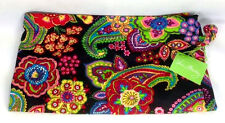 Vera Bradley Symphony In Hue Ditty Bag Gym Pool Lunch Black Flower Paisley New