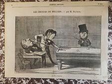 """Honoré Daumier Lithographie originale Série """"Les Joueurs de Billards"""""""