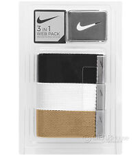 new-nike-golf-mens-3-pack-web-fabric-canvas-belt-set-black-white-khaki