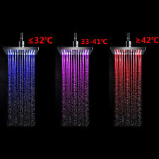 7 Colors Auto Changing LED Shower Square Head Light Water Bathroom Rain Top LAUS