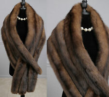 "Super Soft X-Long 78"" x 13.5"" Luxurious Real Russian Sable Fur Wrap Stole Shawl"