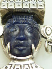 Large vtg Design sterling silver face mask brooch Mexico Broche Aztèque