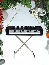 """BLACK KEYBOARD w/ STAND 3"""" MUSICAL INSTRUMENT CHRISTMAS ORNAMENT GIFT BOXED"""