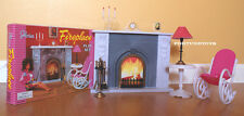 GLORIA DOLLHOUSE BARBIE SIZE FURNITURE FIREPLACE & CHAIR SET FOR BARBIE
