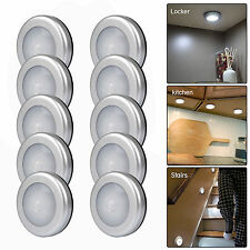 10PCS 6LED Wireless PIR Motion Sensor Light Cabinet Locker Lamp Battery Powered