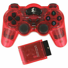 ZedLabz wireless RF vibration gamepad controller for Sony Playstation 2 PS2 Red