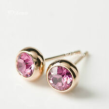 EARRINGS STUD 18K ROSE GOLD SWAROVSKI CRYSTAL 5MM PINK