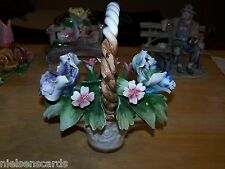 "Capodimonte porcelain Flower Basket Center Piece 10"" Tall 7 1/2"" Wide"