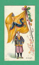 R.  &  J.  HILL  LTD. - RARE MILITARY CARD - FLAGS WITH SOLDIER - CHINA - 1901