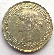Guadeloupe 1921 Armored 1Franc Coin
