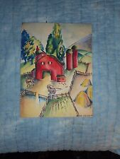 3 Unsigned Watercolor  on Paper 1940's Home & Family Images