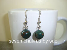 Feng Shui - 10mm Bloodstone Earrings (Stainless Steel)