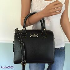 NEW! RARE KATE SPADE BLACK WELLESLEY LEATHER SHOULDER BAG SATCHEL PURSE