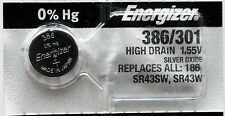 2PC Energizer 386 301 Silver Oxide SR43SW, SR43W, SR43 - Made in Japan