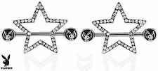 1 Pair Playboy Bunny with Paved Gems Star Nipple Shields Rings Body Jewelry New