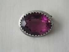 Vintage Danecraft Sterling Pin/Brooch Purple/Amethyst Color Oval Glass Stone
