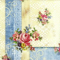 4x Single Table Party Paper Napkins for Decoupage Decopatch Craft Vintage Roses