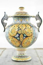 Tuscan Two-Handled Italian Ceramic Footed Urn with Scroll Handles