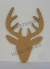 STAG HEAD SHAPE MDF (155mm x 6mm thick)/WOODEN CRAFT SHAPE/DECORATION