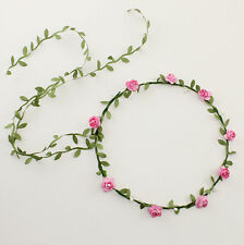 Pink Beach Floral Flower Garland Festival Wedding Girls Forehead Hair Head Band