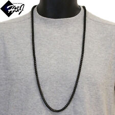 """36""""MEN's Stainless Steel HEAVY 6mm Black Smooth Cuban Curb Box Chain Necklace"""