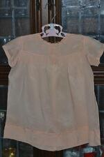 Antique Silk Peach Baby Girl 1880 Dress Made in France Embroidered Hand Tucked