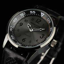 INFANTRY MENS QUARTZ BLACK WRIST WATCH MILITARY TACTICAL ARMY LEATHER WATERPROOF