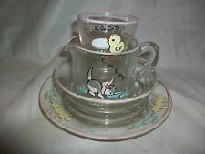 Vintage Antique Hand Painted Clear Glass Child Dish Set Cream Eggs Bowl Cup Baby